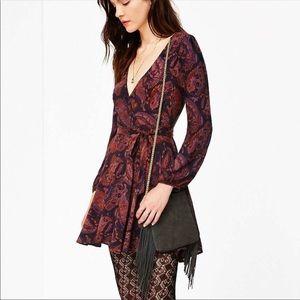 UO ecoté Score ruby paisley wrap dress